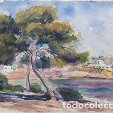 Arte: SEBASTIÁN LLOBET RIBAS - PUEBLO COSTERO. Lote 142845462