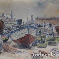 Arte: SEBASTIÁN LLOBET RIBAS - ZONA DE PESCADORES. Lote 142845514