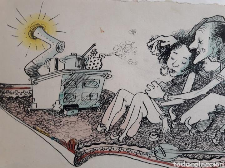 Arte: Caricatura pintada con Témpera. Obra de 1950. - Foto 3 - 142864402