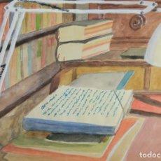 Arte: ACUARELA Y GOUACHE SOBRE PAPEL VISTA ESCRITORIO FIRMADO MS 1972. Lote 142987806