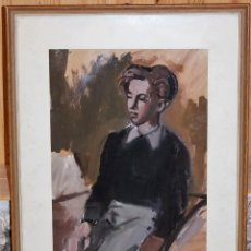Arte: WALTER HERMANN JONAS (1910-1979) - DIBUJO CON CERAS - RETRATO DE JOVEN FECHADO EN 1952. Lote 143198470