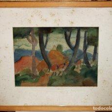 Arte: WALTER HERMANN JONAS (1910-1979) - DIBUJO ACUARELAS - PAISAJE CON FIGURAS FECHADO EN 1951. Lote 143199286