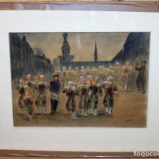 Arte: JEAN TARGET (1910-1997) - DIBUJO A COLOR - FIESTA TRADICIONAL - MEDIADOS SIGLO XX. Lote 143202514