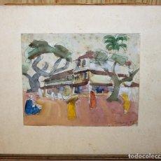 Arte: WALTER HERMANN JONAS (1910-1979) - DIBUJO ACUARELAS - PAISAJE CON CASA Y FIGURAS FECHADO EN 1951 . Lote 143206502