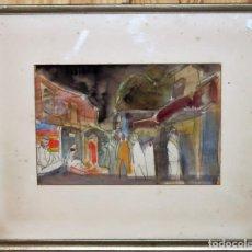 Arte: WALTER HERMANN JONAS (1910-1979) - DIBUJO ACUARELAS - ESCENA DE MERCADO - FECHADO EN 1957. Lote 143294922
