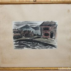 Arte: ODETTE BRURIAUX (1923-2003) - DIBUJO CON CERAS - PAISAJE - FECHADO EN 1947. Lote 143297306