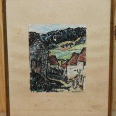 Arte: ODETTE BRURIAUX (1923-2003) - DIBUJO CON CERAS - PAISAJE CON FIGURAS - FECHADO EN 1950. Lote 143297630