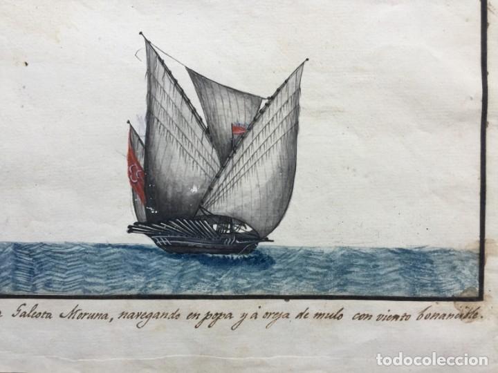 Arte: ACUARELA NAVAL DEL XVIII , VISTA DE UNA GALEOTA MORUNA CON TEXTO DESCRIPTIVO DE LA IMAGEN - Foto 6 - 51585321