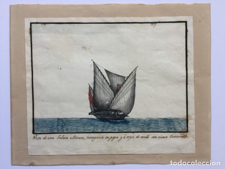 ACUARELA NAVAL DEL XVIII , VISTA DE UNA GALEOTA MORUNA CON TEXTO DESCRIPTIVO DE LA IMAGEN (Arte - Acuarelas - Antiguas hasta el siglo XVIII)