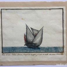 Arte: ACUARELA NAVAL DEL XVIII , VISTA DE UNA GALEOTA MORUNA CON TEXTO DESCRIPTIVO DE LA IMAGEN. Lote 51585356