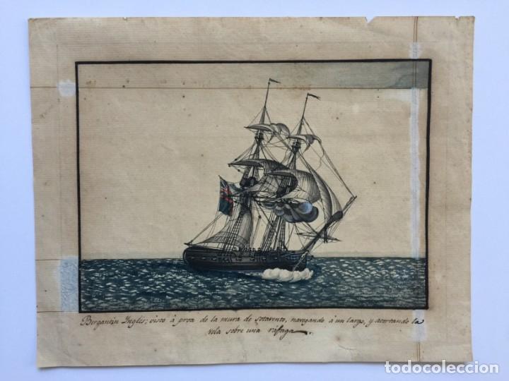 ACUARELA NAVAL DEL XVIII , VISTA DE UN BERGANTIN INGLES CON TEXTO DESCRIPTIVO DE LA IMAGEN (Arte - Acuarelas - Antiguas hasta el siglo XVIII)