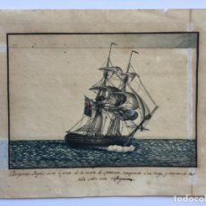 Arte: ACUARELA NAVAL DEL XVIII , VISTA DE UN BERGANTIN INGLES CON TEXTO DESCRIPTIVO DE LA IMAGEN. Lote 51585424