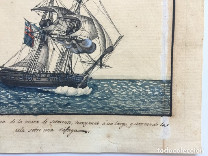 Arte: ACUARELA NAVAL DEL XVIII , VISTA DE UN BERGANTIN INGLES CON TEXTO DESCRIPTIVO DE LA IMAGEN - Foto 8 - 51585424