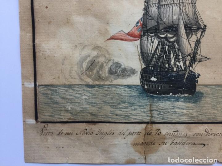 Arte: ACUARELA NAVAL DEL XVIII , VISTA DE UN NAVÍO INGLES CON TEXTO DESCRIPTIVO DE LA IMAGEN - Foto 6 - 51585505