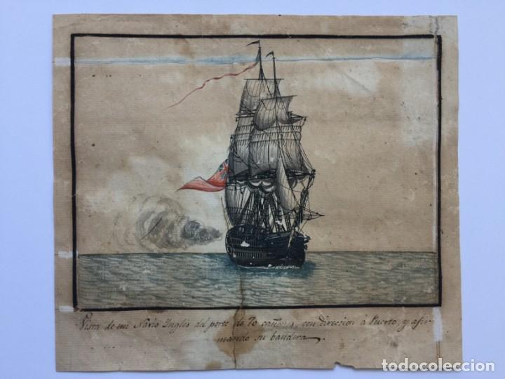 ACUARELA NAVAL DEL XVIII , VISTA DE UN NAVÍO INGLES CON TEXTO DESCRIPTIVO DE LA IMAGEN (Arte - Acuarelas - Antiguas hasta el siglo XVIII)