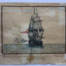 Arte: ACUARELA NAVAL DEL XVIII , VISTA DE UN NAVÍO INGLES CON TEXTO DESCRIPTIVO DE LA IMAGEN. Lote 51585505