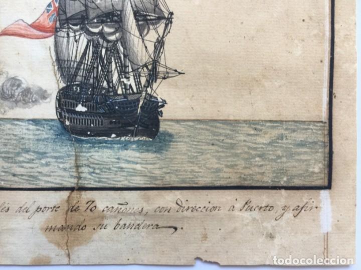 Arte: ACUARELA NAVAL DEL XVIII , VISTA DE UN NAVÍO INGLES CON TEXTO DESCRIPTIVO DE LA IMAGEN - Foto 5 - 51585505