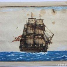 Art: ACUARELA NAVAL DEL XVIII , VISTA DE UN NAVÍO , BARCO , BUQUE ESPAÑOL. Lote 51585589