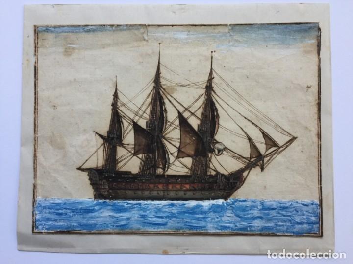 ACUARELA NAVAL DEL XVIII , VISTA DE UN NAVÍO , BARCO , BUQUE (Arte - Acuarelas - Antiguas hasta el siglo XVIII)