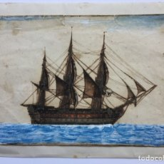 Arte: ACUARELA NAVAL DEL XVIII , VISTA DE UN NAVÍO , BARCO , BUQUE. Lote 51585629