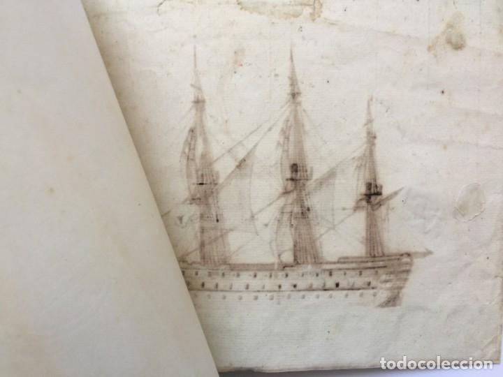 Arte: ACUARELA NAVAL DEL XVIII , VISTA DE UN NAVÍO , BARCO , BUQUE - Foto 6 - 51585629