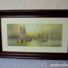 Arte: BONITA ACUARELA ,VENECIA AL ATARDECER ,FIRMADO A. PERIQUÉ. Lote 143612582