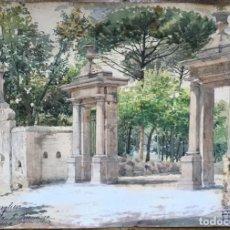 Arte: FILIPPO ANIVITTI (1876-1955) PINTOR ITALIANO - ACUARELA SOBRE PAPEL - VILLA BORGHESE. Lote 143632118
