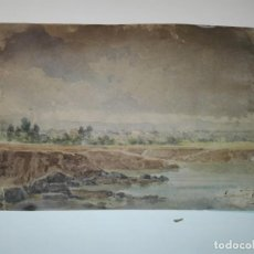 Arte: ACUARELA ORIGINAL DE DOMINGO ESTUBLIÉ Y PARTAGAS. VISTA DE SAN FELIU DE LLOBREGAT 1885.. Lote 143722618