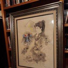 Arte: JOVEN CON CANARIOS (1965) - EMILIO GRAU SALA (1911 - 1975) - TÉCNICA MIXTA.. Lote 143919522