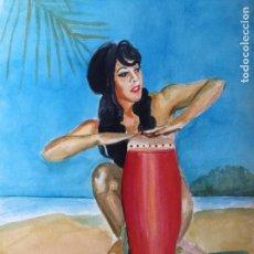 Art - Acuarela de chica tocando bongo - 143943862