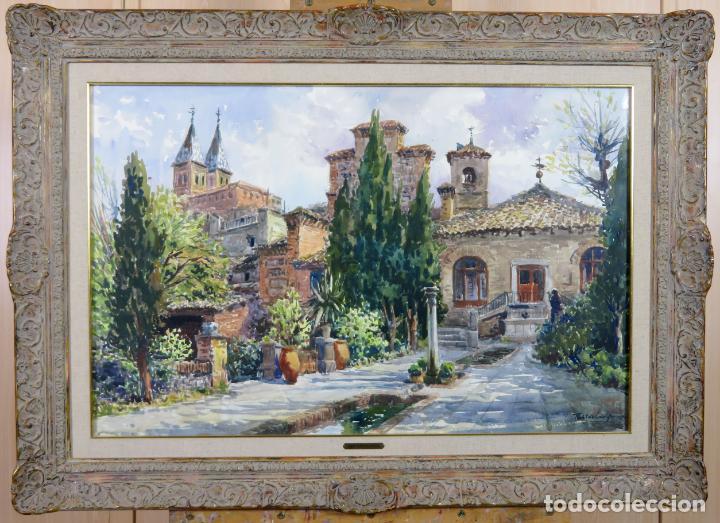 ACUARELA SOBRE PAPEL JARDÍN TOLEDANO HOSTAL DEL CARDENAL VICENTE PASTOR CALPENA (1918-1993) (Arte - Acuarelas - Contemporáneas siglo XX)