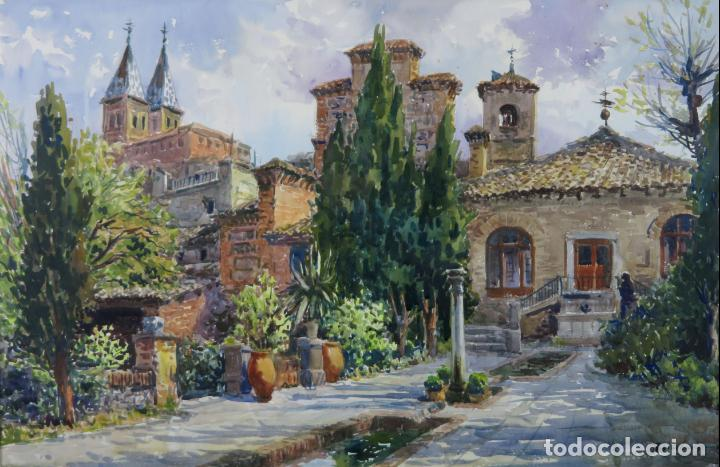 Arte: Acuarela sobre papel Jardín Toledano Hostal del Cardenal Vicente Pastor Calpena (1918-1993) - Foto 2 - 144363090