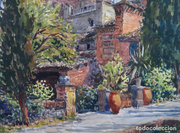 Arte: Acuarela sobre papel Jardín Toledano Hostal del Cardenal Vicente Pastor Calpena (1918-1993) - Foto 3 - 144363090