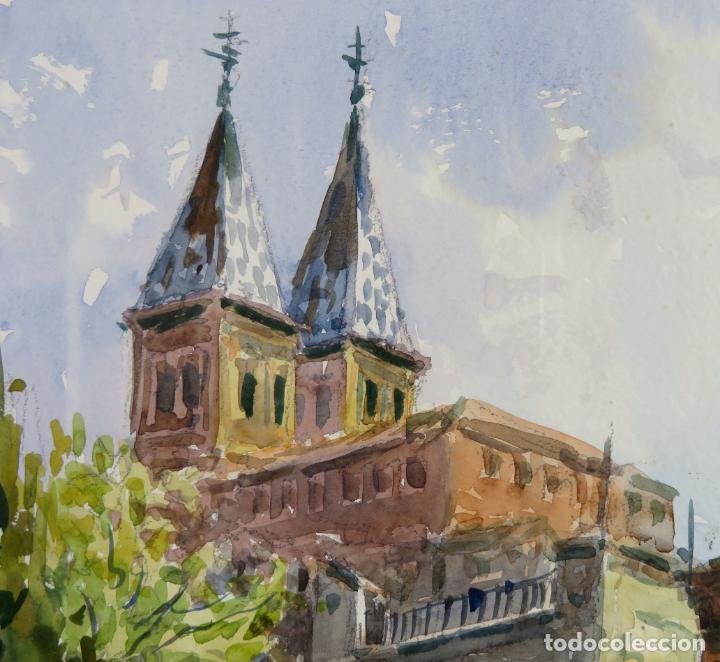 Arte: Acuarela sobre papel Jardín Toledano Hostal del Cardenal Vicente Pastor Calpena (1918-1993) - Foto 4 - 144363090