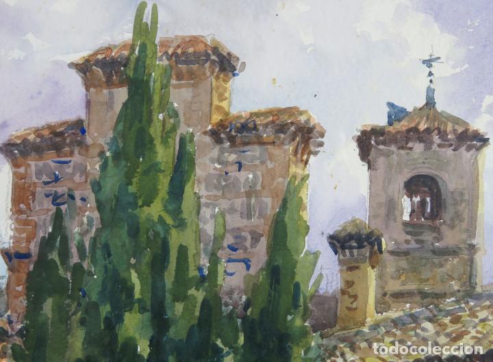 Arte: Acuarela sobre papel Jardín Toledano Hostal del Cardenal Vicente Pastor Calpena (1918-1993) - Foto 5 - 144363090