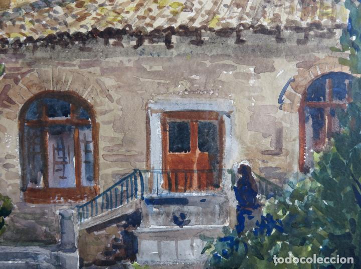 Arte: Acuarela sobre papel Jardín Toledano Hostal del Cardenal Vicente Pastor Calpena (1918-1993) - Foto 6 - 144363090