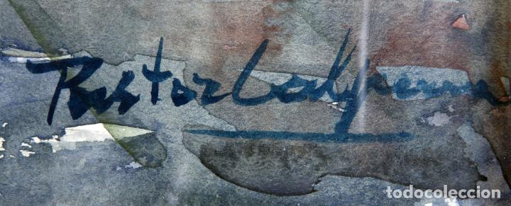 Arte: Acuarela sobre papel Jardín Toledano Hostal del Cardenal Vicente Pastor Calpena (1918-1993) - Foto 9 - 144363090