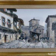 Arte: ACUARELA SOBRE PAPEL VISTA DE SANTILLANA DEL MAR COLEGIATA VICENTE PASTOR CALPENA 1968 (1918-1993). Lote 144365318