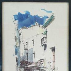 Arte: CALLE DE PORT DE LA SELVA. ACUARELA SOBRE PAPEL. FIRMADO Y DEDICADO RAMIS. 1972.. Lote 144468502