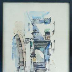 Arte: CALLE DE LA ESCALA. ACUARELA SOBRE PAPEL. FIRMADO JULI RAMIS. 1975.. Lote 144469370