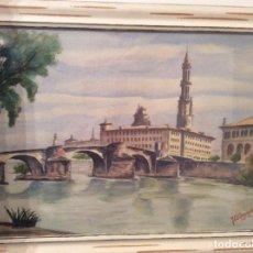 Arte: ACUARELA DE CASAMIAN 1952 ZARAGOZA 50CMX22CM.. Lote 144501510