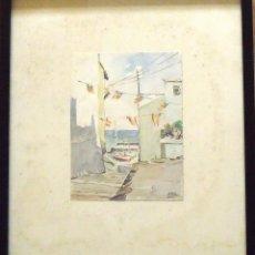 Arte: ACUARELA DE JOSÉ PASCUAL PAS FIESTA VALENCIANA. ENMARCADA 30X26 CM. ACUARELA 15X12 CM. BUEN ESTADO.. Lote 144546918