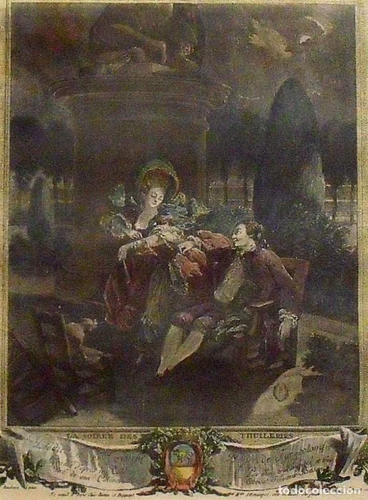 Arte: PIERRE ANTOINE BAUDOIN GRABADO COLOREADO. LE SOIREE DES TUILERIES. FINALES XVIII. GRAVURE. SIMONET. - Foto 3 - 144547714