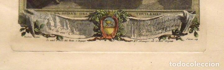 Arte: PIERRE ANTOINE BAUDOIN GRABADO COLOREADO. LE SOIREE DES TUILERIES. FINALES XVIII. GRAVURE. SIMONET. - Foto 4 - 144547714