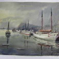 Arte: DAVID MERCADÉ, ACUARELA, 1952, PUERTO Y BARCOS. 45,5X49,5CM. Lote 144943986