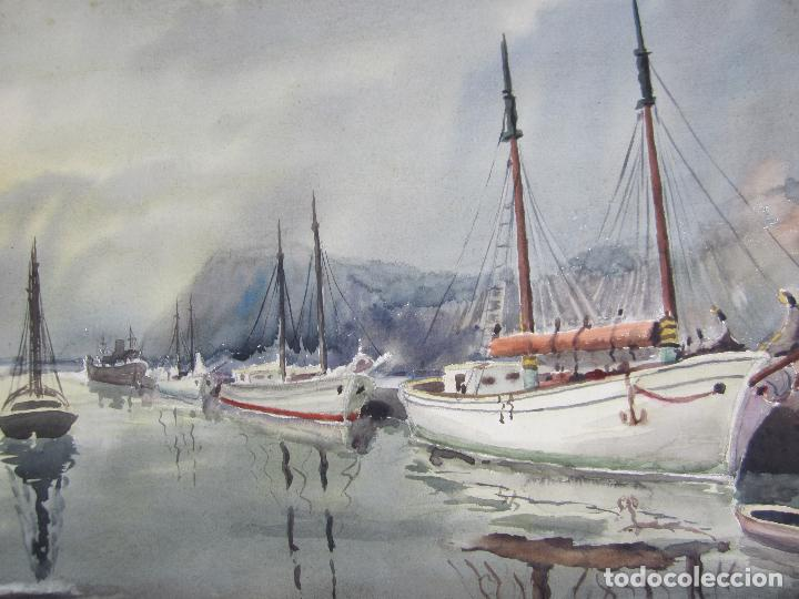 Arte: David Mercadé, acuarela, 1952, puerto y barcos. 45,5x49,5cm - Foto 3 - 144943986