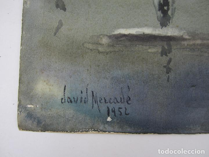 Arte: David Mercadé, acuarela, 1952, puerto y barcos. 45,5x49,5cm - Foto 2 - 144943986