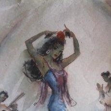 Arte: ACUARELA - P. CLAPERA - CUADRO FLAMENCO .. Lote 144983226