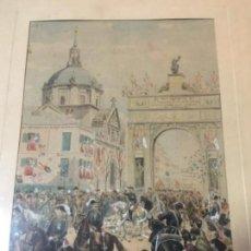 Arte: (M) MADRID - ANTIGUA ACUARELA DE MANUEL MOLINÉ AL REY ALFONSO XII LAS SEÑORAS DE LA ASOCIACIÓN PARA. Lote 144995094