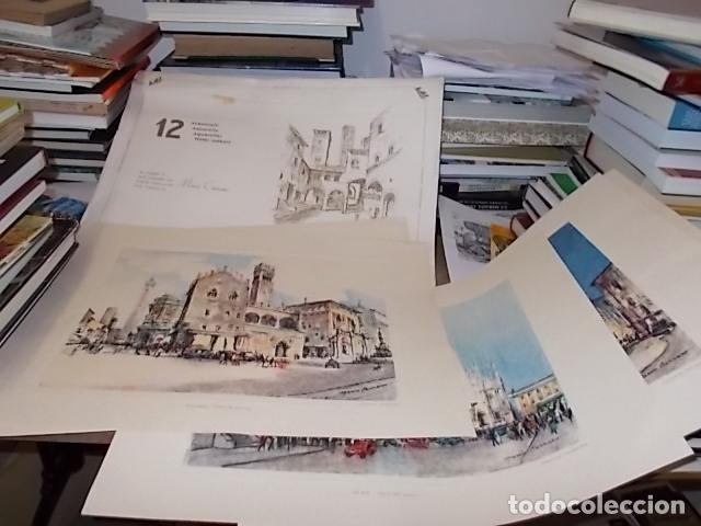 8 ACUARELAS DE MARIO CARRARO DE LAS PLAZAS DE ITALIA. ITALIAN AIRLINES. INCLUYE CARPETA. UNA JOYA!!! (Arte - Acuarelas - Contemporáneas siglo XX)